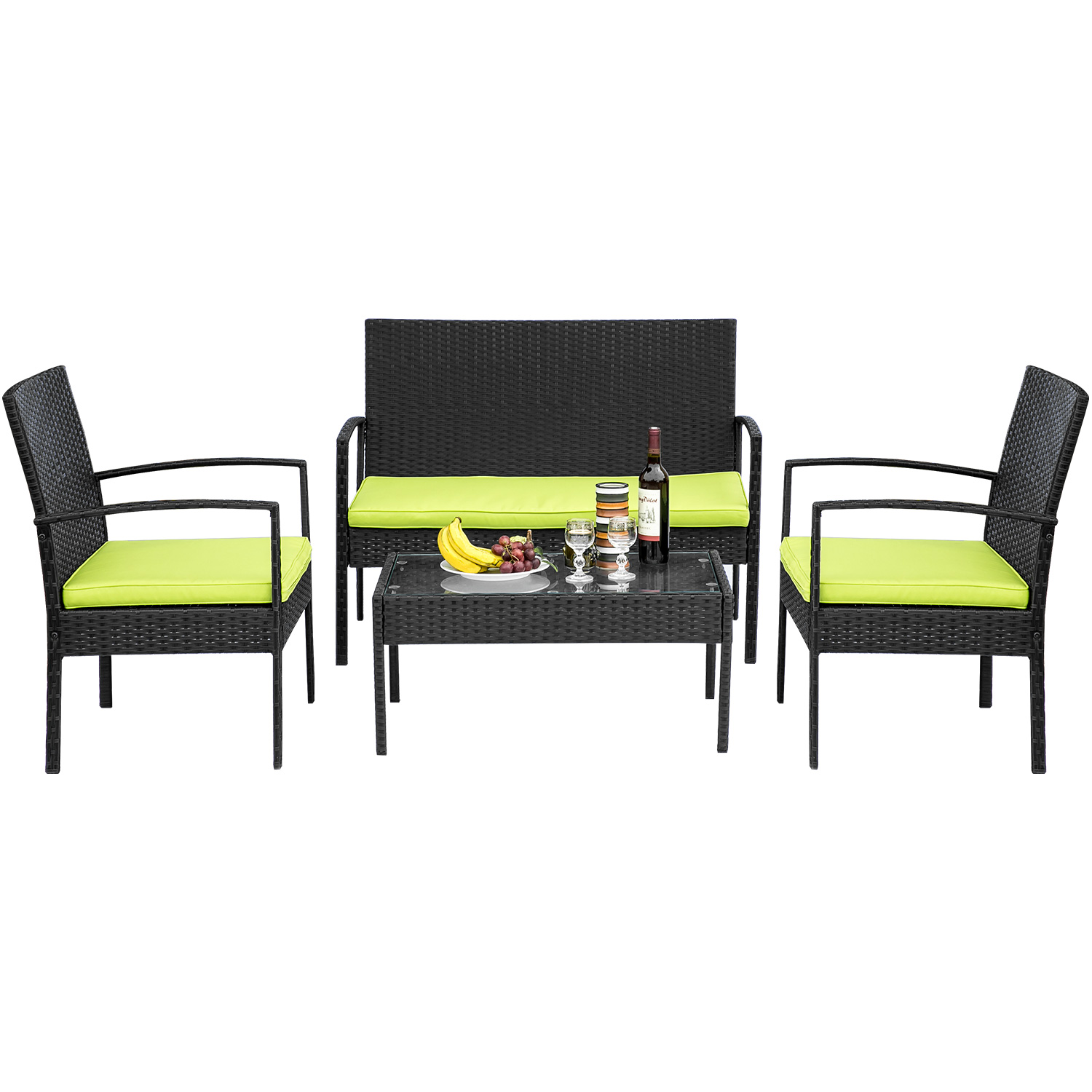 [US DIRECT] 4 Pcs Rattan Patio Furniture Set Outdoor Sofa Chair Cushioned Seat Fishing Chair Tempered Folding Glass Table