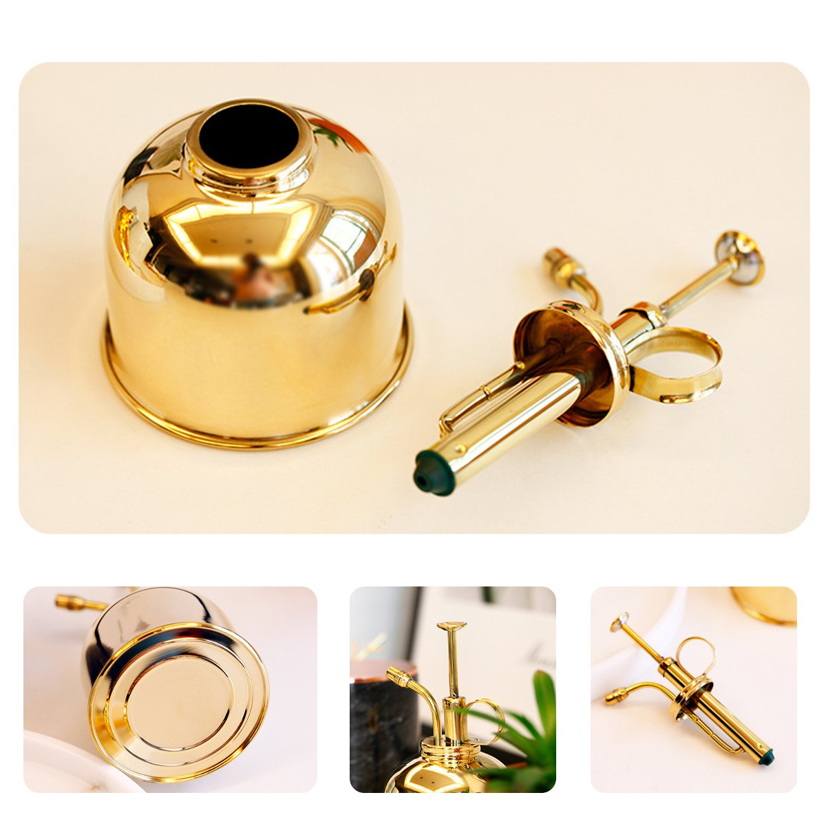 300mL Mini Brass Home Plant Mister Plunger Flower Water Spray Bottle Potted  Spraying Watering Can Decorations