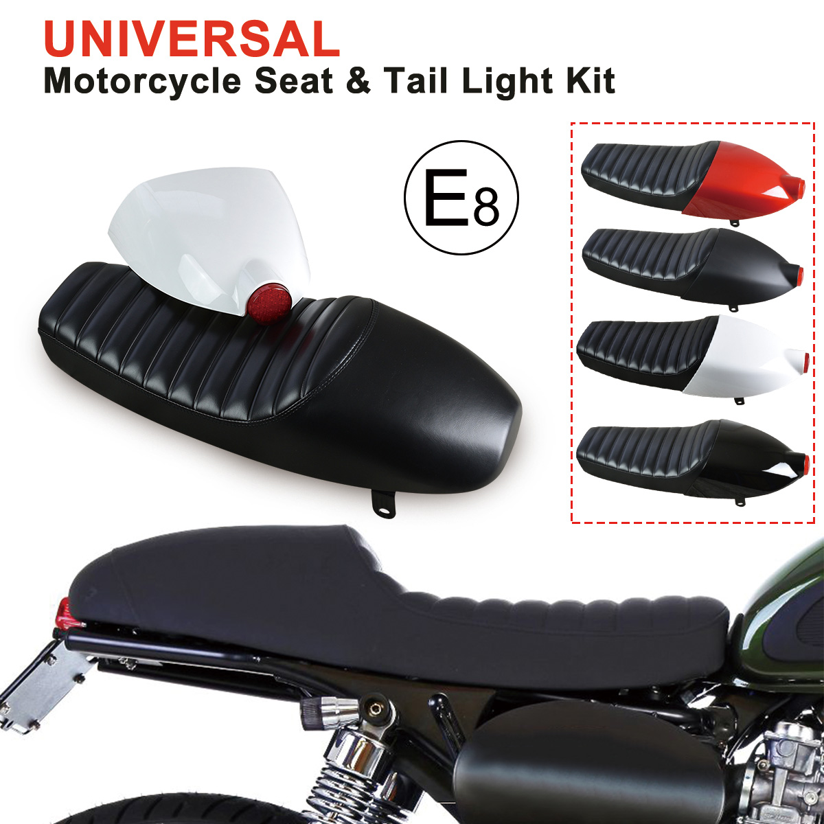 Motorcycle Seat Cushion With Cover Led Tail Brake Light Universal Cafe Bike E8 Diy
