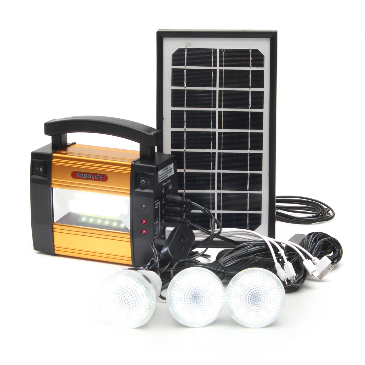 LM-367 110- 240V Solar Power Panel Generator Solar Powered System 3 LED Lamps Generator