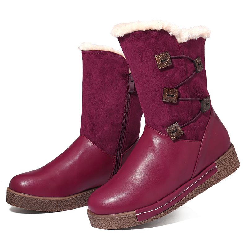 53591410ffc LOSTISY Women's Winter Warm Buckle Zipper Snow Boots