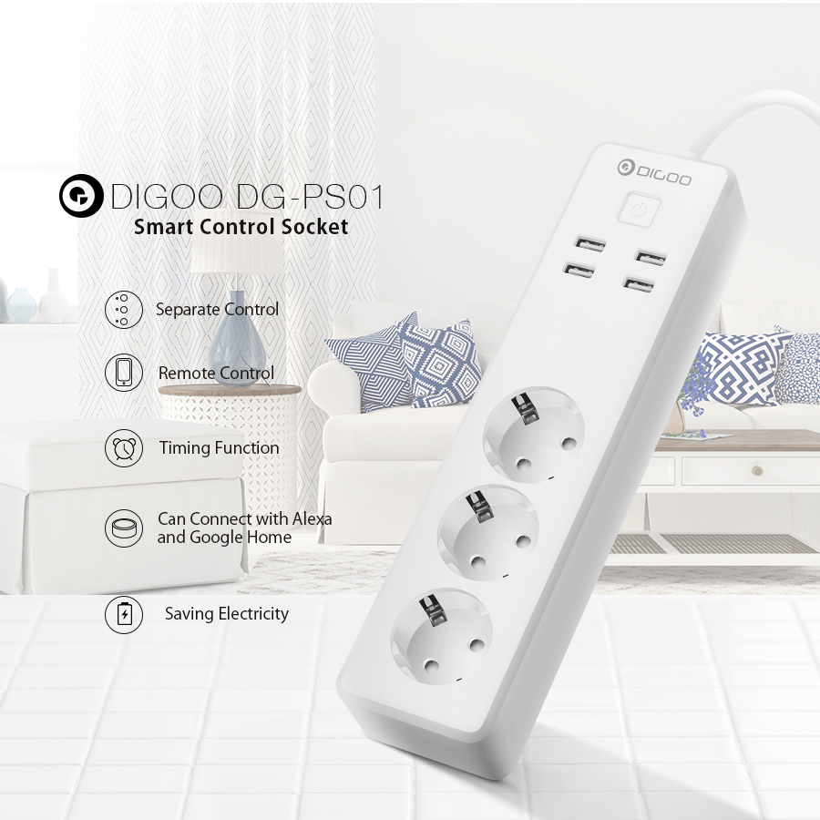 DIGOO DG-PS01 Smart Power Strip Trabajar con el puerto USB de Alexa Smart Home Control remoto Enchufe Outlet
