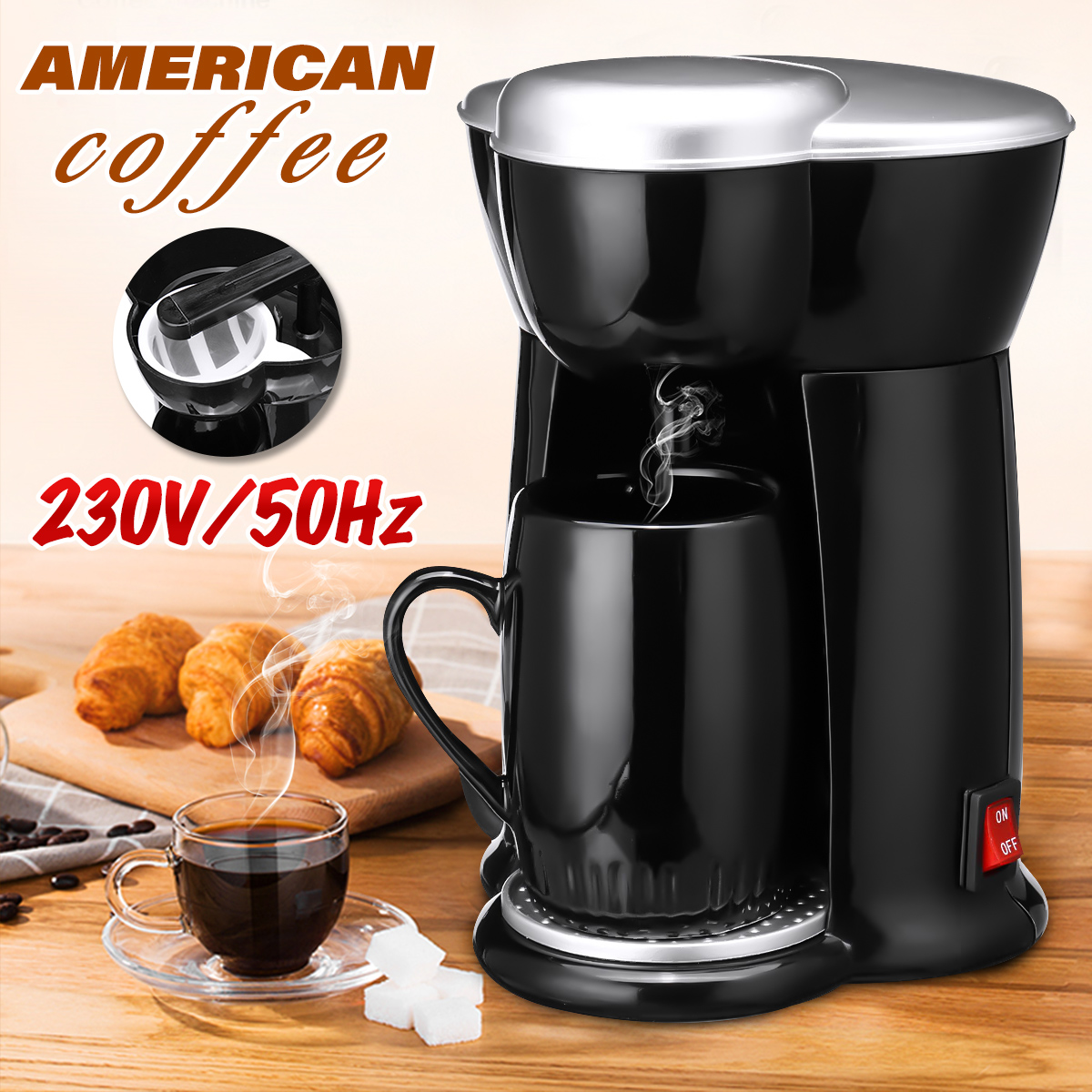 300W Mini Single Cup Drip Coffee Machine Makers Electric Automatic Espresso Machine 13