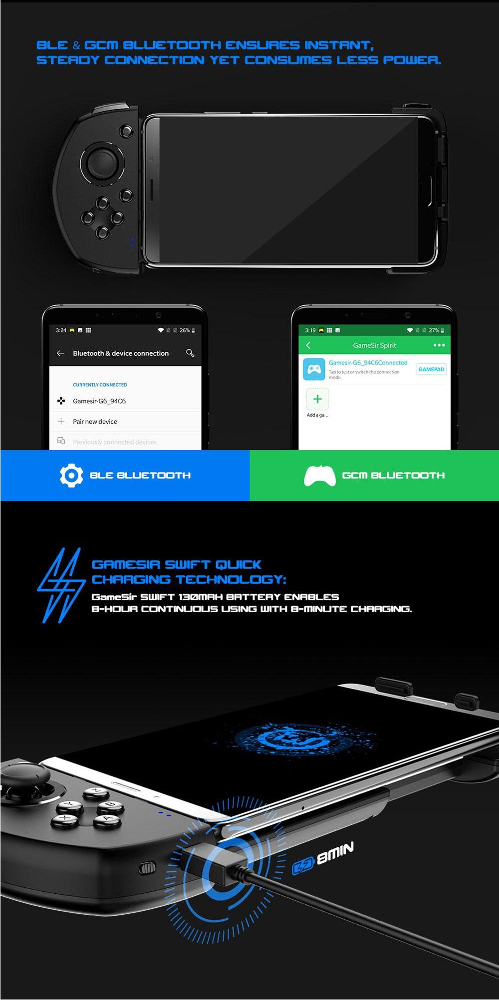 Gamesir G6 bluetooth Adjustable Gamepad Single Handed Dual Vibration  Gamepad for PUBG Mobile Game Support Vivo IQOO