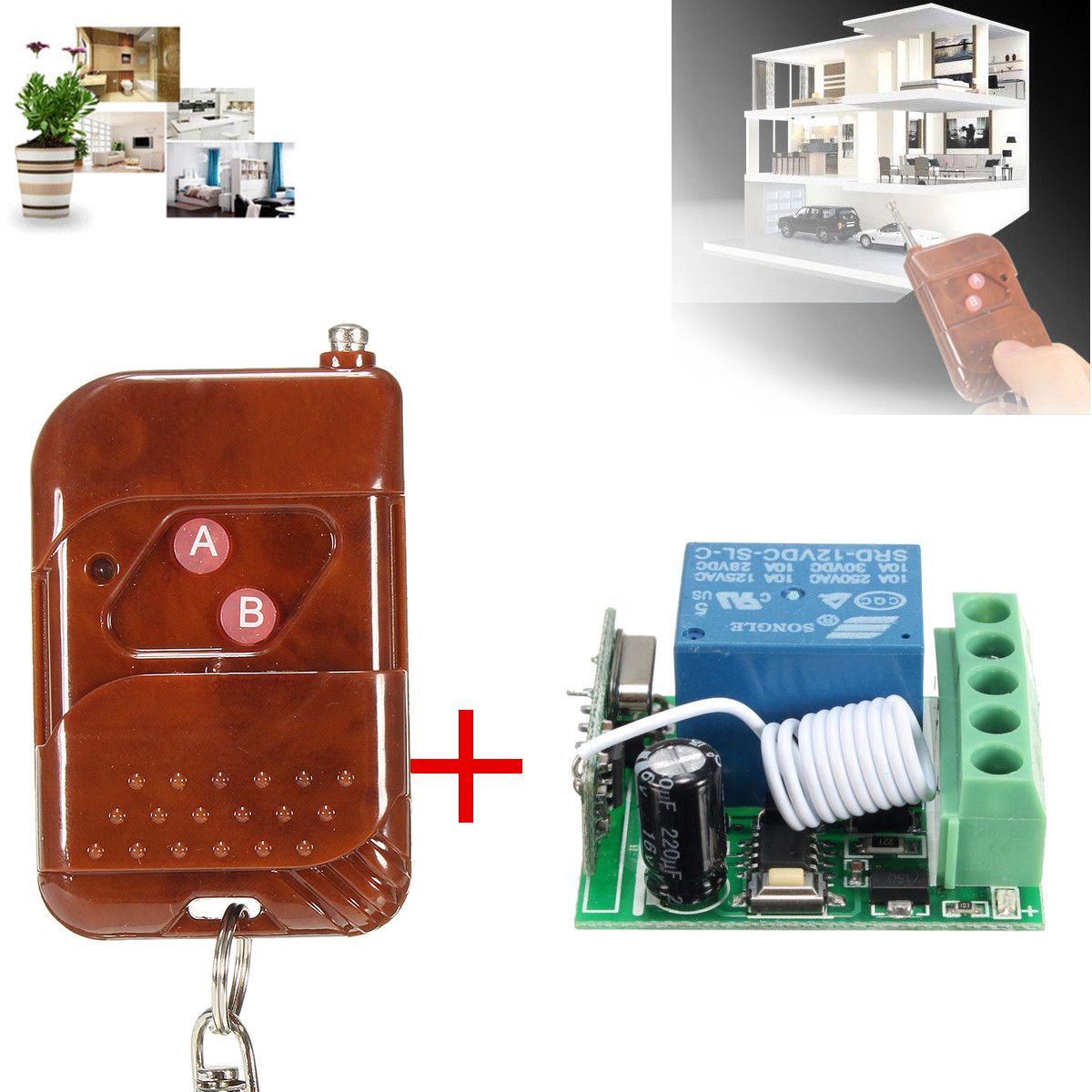 DC 12V 10A 1CH 433MHz Relay Wireless RF Remote Control Switch Receiver With Transmitter