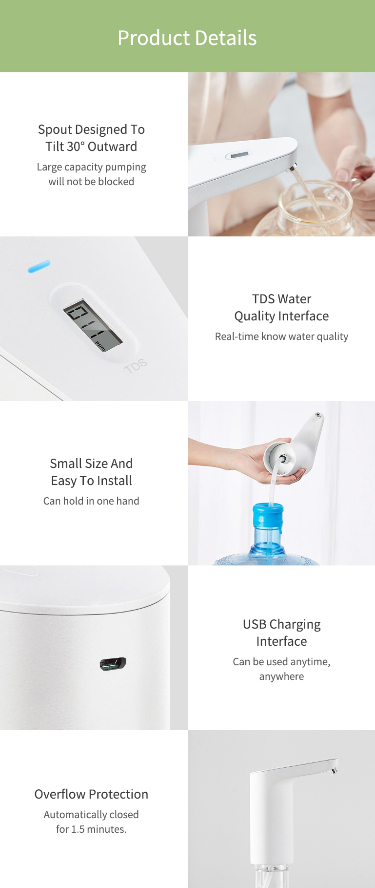 Original Xiaolang Automatic Rechargeable USB Mini Touch Switch Water Pump Wireless Electric Dispenser with TDS Device from xiaomi youpin (White) 23