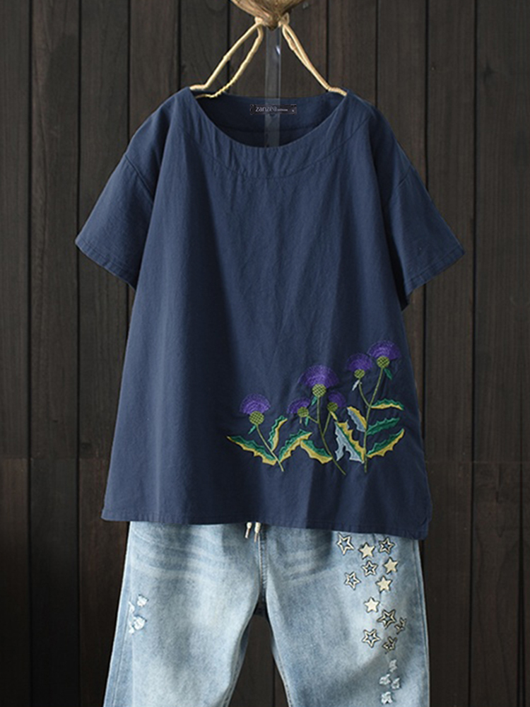 Women Casual O-Neck Floral Embroidered Short Sleeve T-S