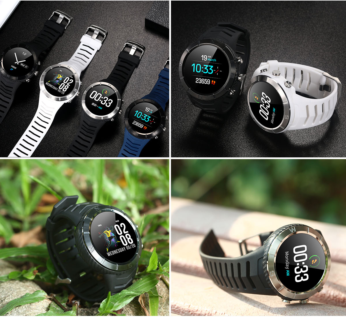 DT NO.1 DT08 Round Touch Wristband Compass HRV HR and Blood Pressure Monitor 20 days Standby Smart Watch