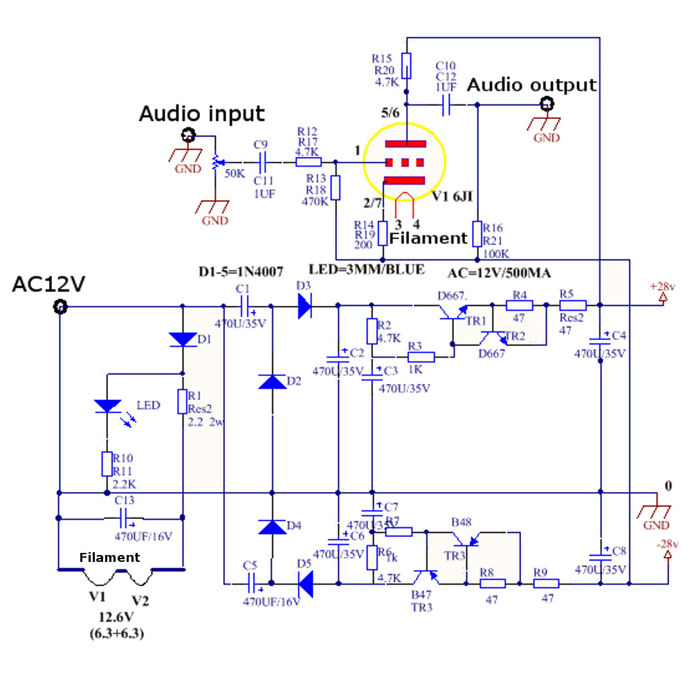 AC 12V 1A 6J1 Value Preamp Tube Preamp Amplifier Board PreAmplifier X Schematic Diagram on