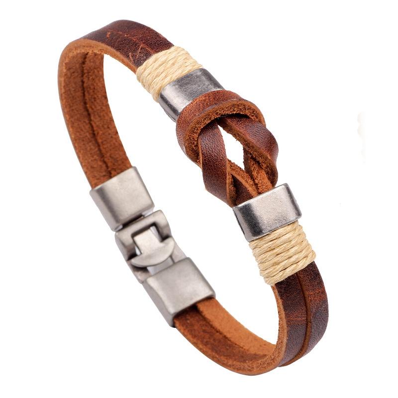 European Style Retro Vintage Leather Men Bracelet Buckl