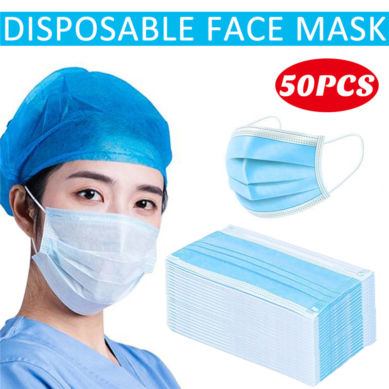 50PCS Disposable Face Mask Set 3-Layer Mask Anti Pollution PM2.5 Dust Ear Loop Mouth Mask