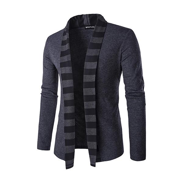 Модный свитер Кардиган Мужские тренды Трикотаж Повседневные полосы Цвет кардиган