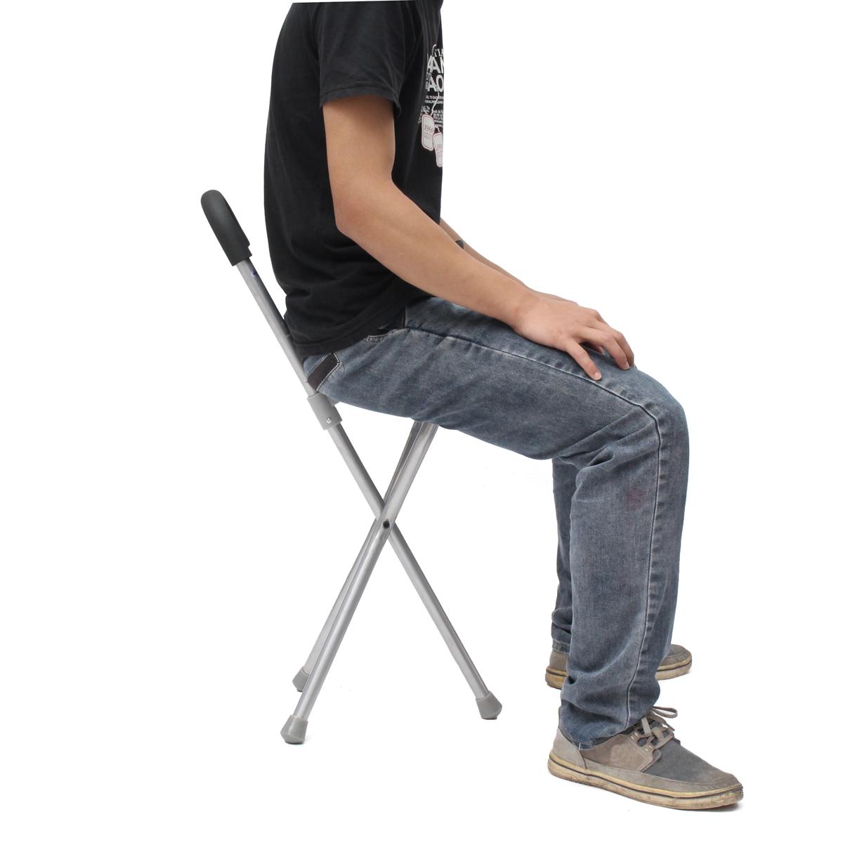 2b63127cf81e Outdoor Travel Folding Stool Chair Portable Tripod Cane Walking Stick Seat  Camping Hiking