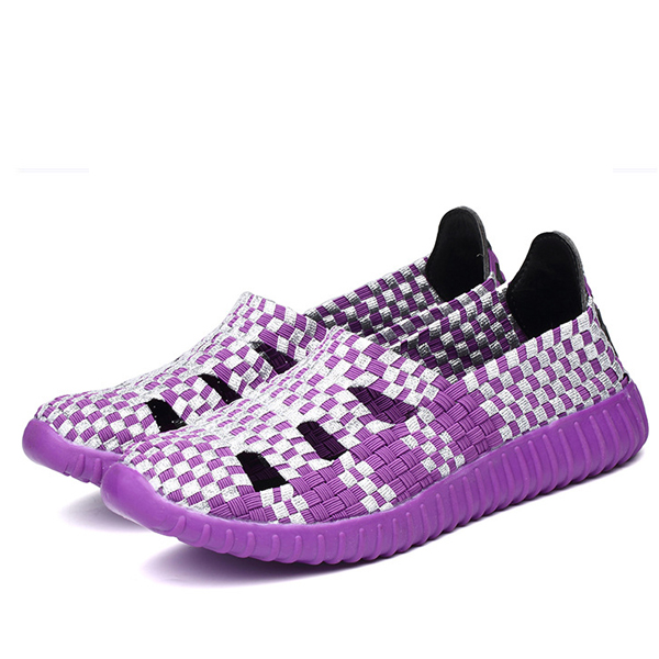 Hollow Out Knitting Weave Slip On Respirant Flat Casual Shoes
