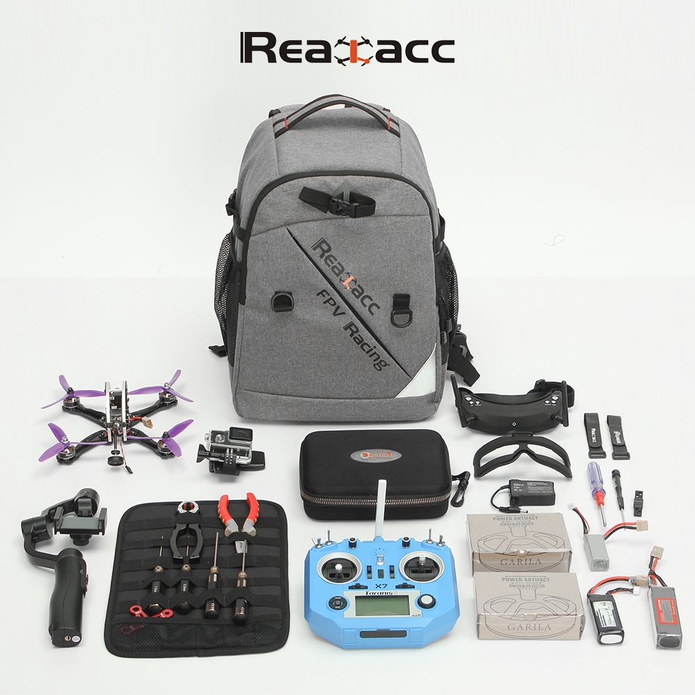 Realacc Backpack Case with Waterproof Transmitter Beam port Bag Tool Board for RC Drone FPV Racing 20