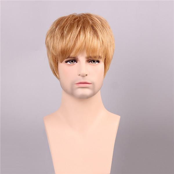 Мужчины человеческие волосы парики золотисто-коричневого цвета со светлыми короткой моно верхней мужской Remy девственницы монолитным