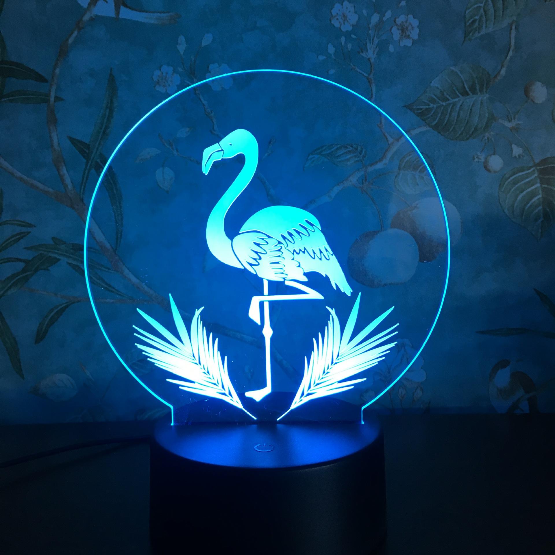 3DNightLightTouchцветfulFlamingo LED Таблица Лампа День рождения