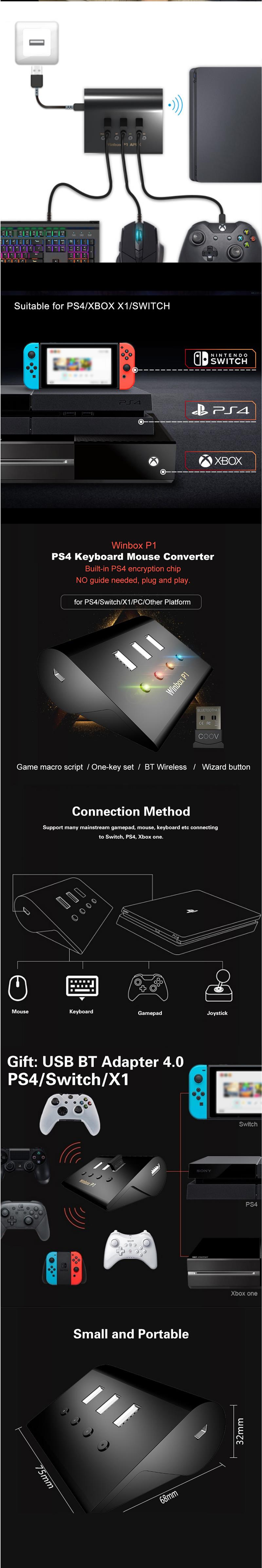 Winbox P1 Pro Keyboard Mouse Converter Adapter Game Console for Playstation 4 for Nintendo Switch X1 PC 14