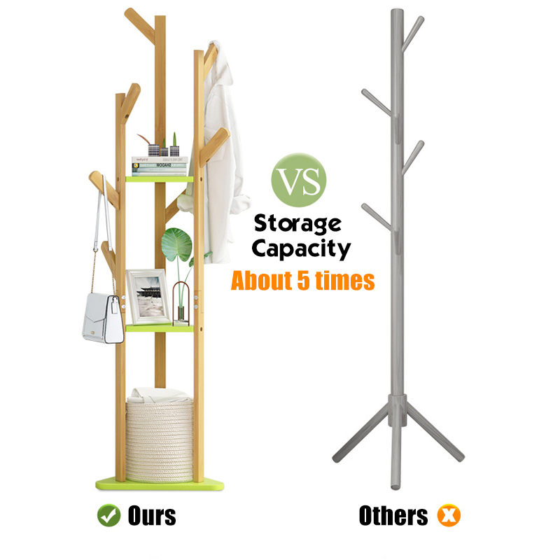 60 Inch Sturdy Natural Bamboo Tree Garment Clothes Coat Hat Hanger Stand Rack 3