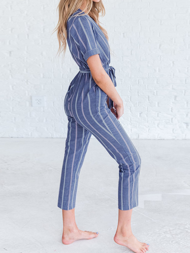 Women Short Sleeve V Neck Striped Belt Tie Overalls Jumpsuit