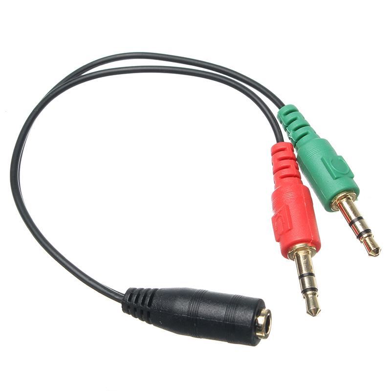 3,5 мм для 2-х двухдисковых 3,5-миллиметровых мужских наушников микрофон Audio Splitter Cable для портативного компьютера для планшетных ПК