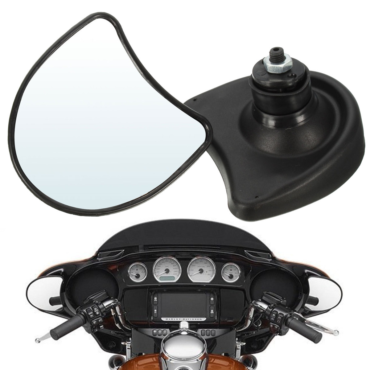 Chrome Motorcycle Rearview Mirrors For Harley Davidson Street Glide FLHX Touring