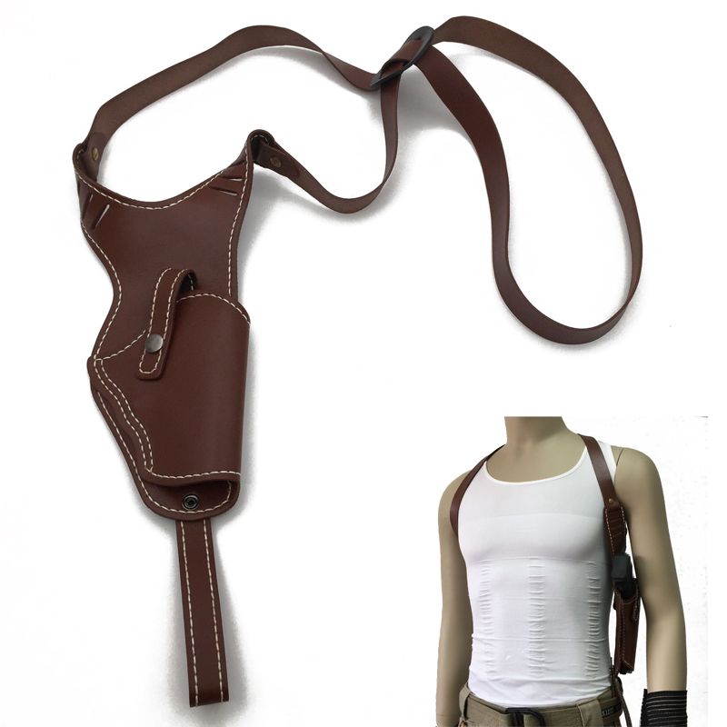 Men Women Concealed Carry Cowskin Genuine Leather CS Hunting Shoulder Gun Holster Bag Right Hand