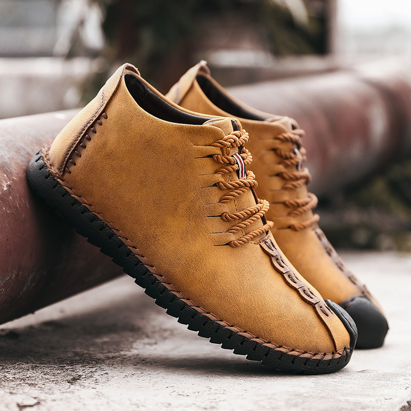 e350a01781e Menico Big Size Men Comfortable Leather Hand Stitching Ankle Boots