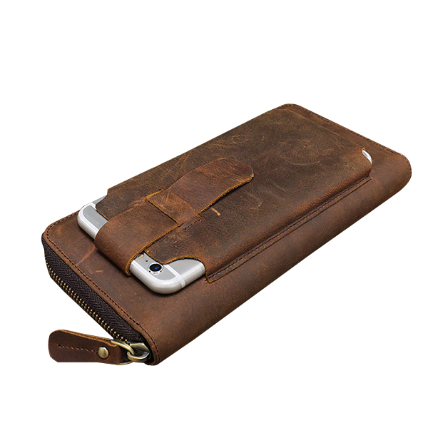 pretty nice e6095 5886d Men Multi-fuction Vintage Genuine Leather Wallet Phone Case High Capacity  Card Holder Coin Purse