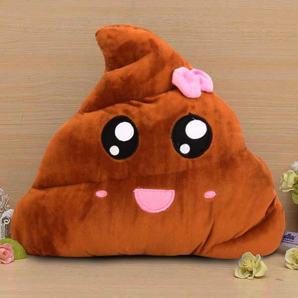Funny Emoji Poo Shape Bowknot Stuffed Throw Pillow Bed Sofa Chair Cotton Cushion