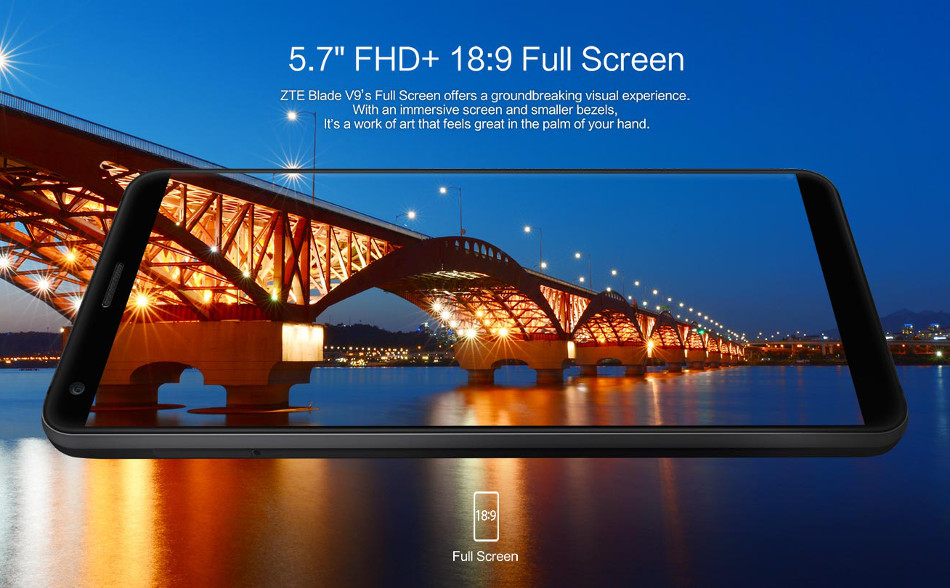 ZTE Blade V9 5 7 inch Full Screen 3GB RAM 32GB ROM Snapdragon 450 Octa core  4G Smartphone