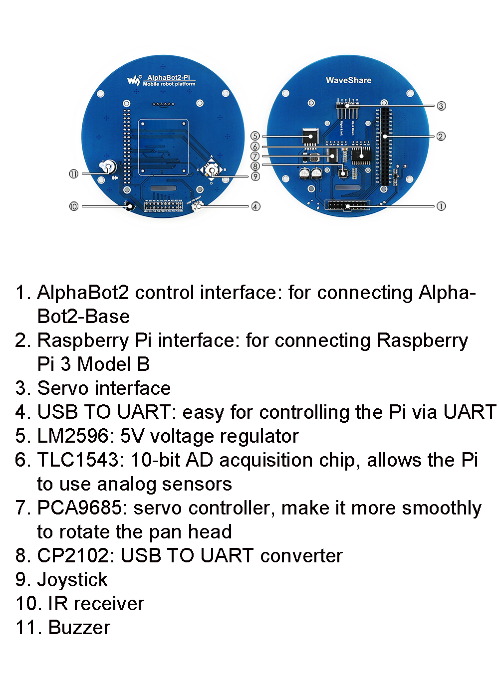 WaveShare DIY Raspberry 3B+ AlphaBot2 Smart RC Robot Car Tracking Avoidance Infrared bluetooth Control With Camera