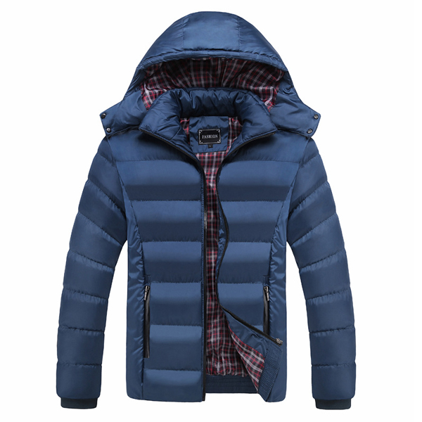 Mens Thick Solid Color Winter Hooded Slim Warm Jacket