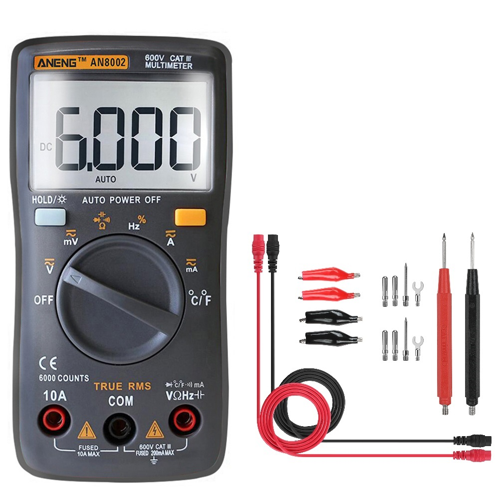 ANENG AN8002 Black Digital True RMS 6000 Counts Multimeter AC/DC Current Voltage Frequency Resistance Temperature Tester ℃/℉ + Test Lead Set