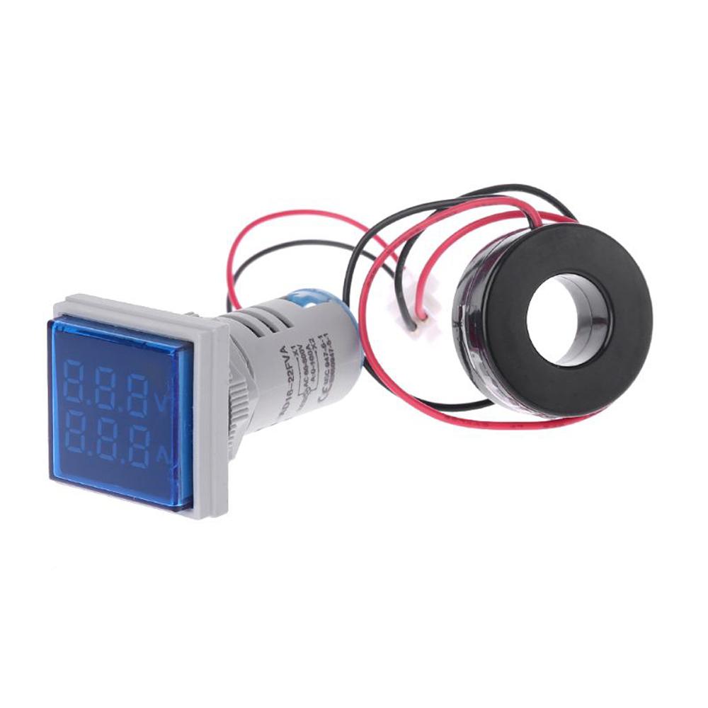 Geekcreit® AC 60-500V 0-100A D18 Square LED Digital Dual Display Voltmeter Ammeter Voltage Gauge Current Meter 13