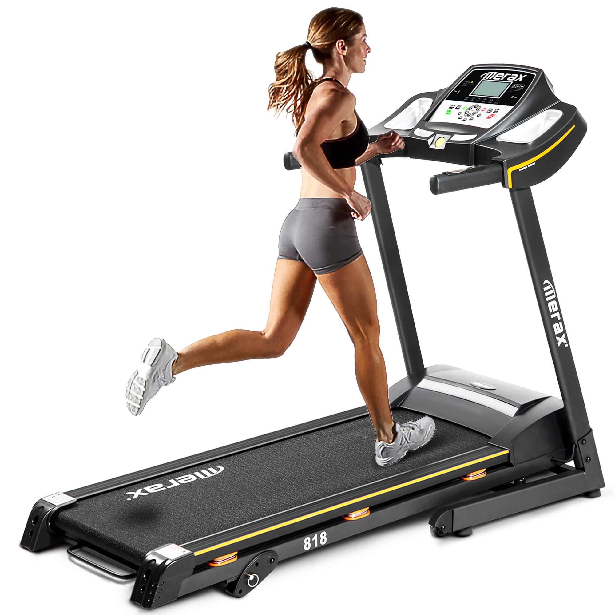 [US DIRECT] Merax Folding Electric Treadmill Motorized Running Machine with Manual Incline and Hydraulic Rod Mechanism