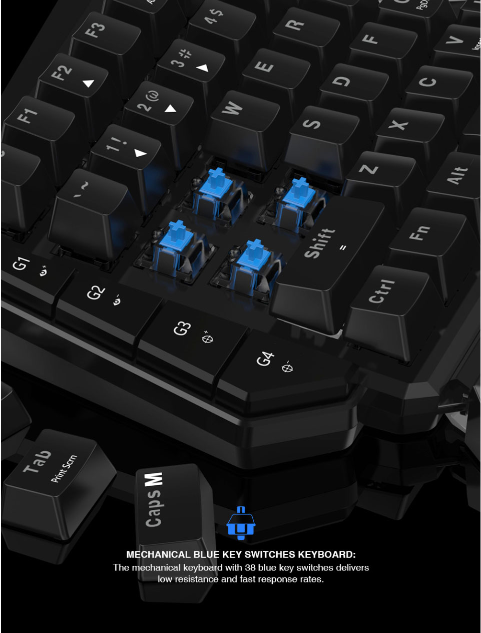 Gamesir VX AimSwitch Keyboard Mouse Gamepad Converter Single Hand Mechanical Keyboard For PS4/PS3/Xbox One/Nintendo Switch/PC 10