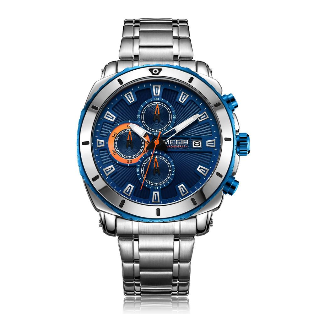 MEGIR2075ДеловойхронографЛюминесцентныекварцевые часы