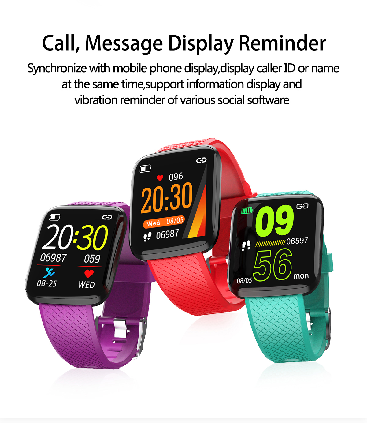 Bakeey 116 Plus2 UI Update Ultra Thin Wristband HR and Blood Pressure Monitor IP67 Smart Watch