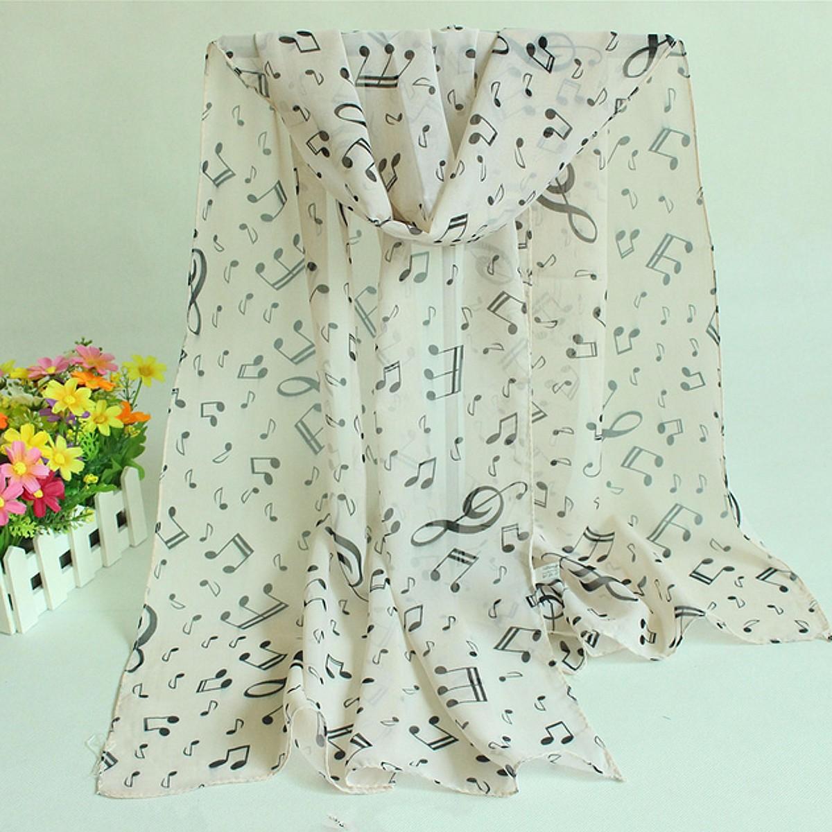 Women Ladies Musical Note Printed Chiffon Scarf Shawl Wrap