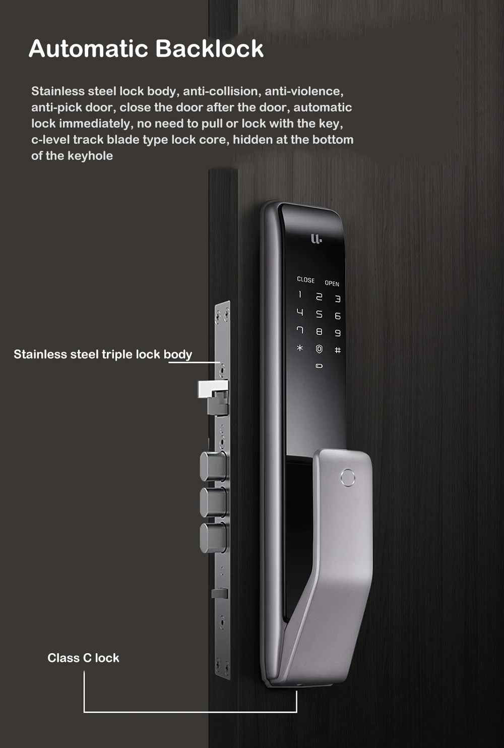 youdian m2 smart automatic fingerprint sliding lock password