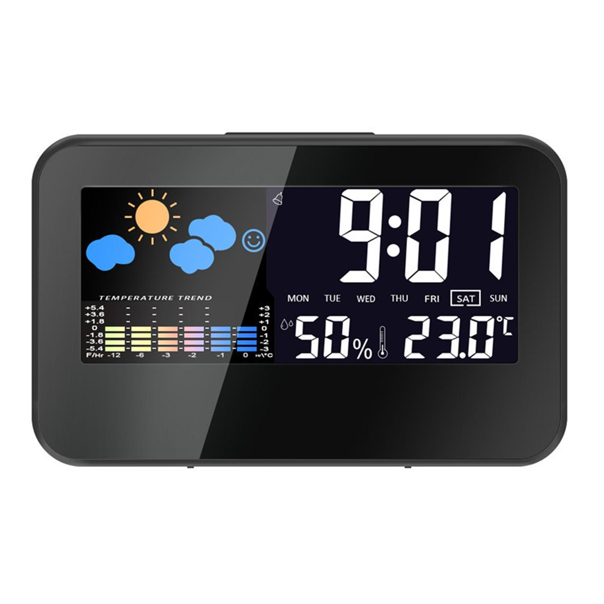 Loskii DC-002 Digitaler Wetterstation-Thermometer-Hygrometer-Wecker mit buntem LED Anzeigen intelligenter stichhaltiger Steuerung Kalender Hintergrundbeleuchtung Funktion