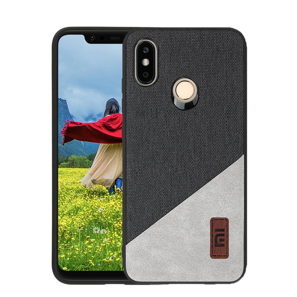 new product 1e3ca acb2c Bakeey Luxury Fabric Splice Soft Silicone Edge Shockproof Protective Case  For Xiaomi Mi8 Mi 8