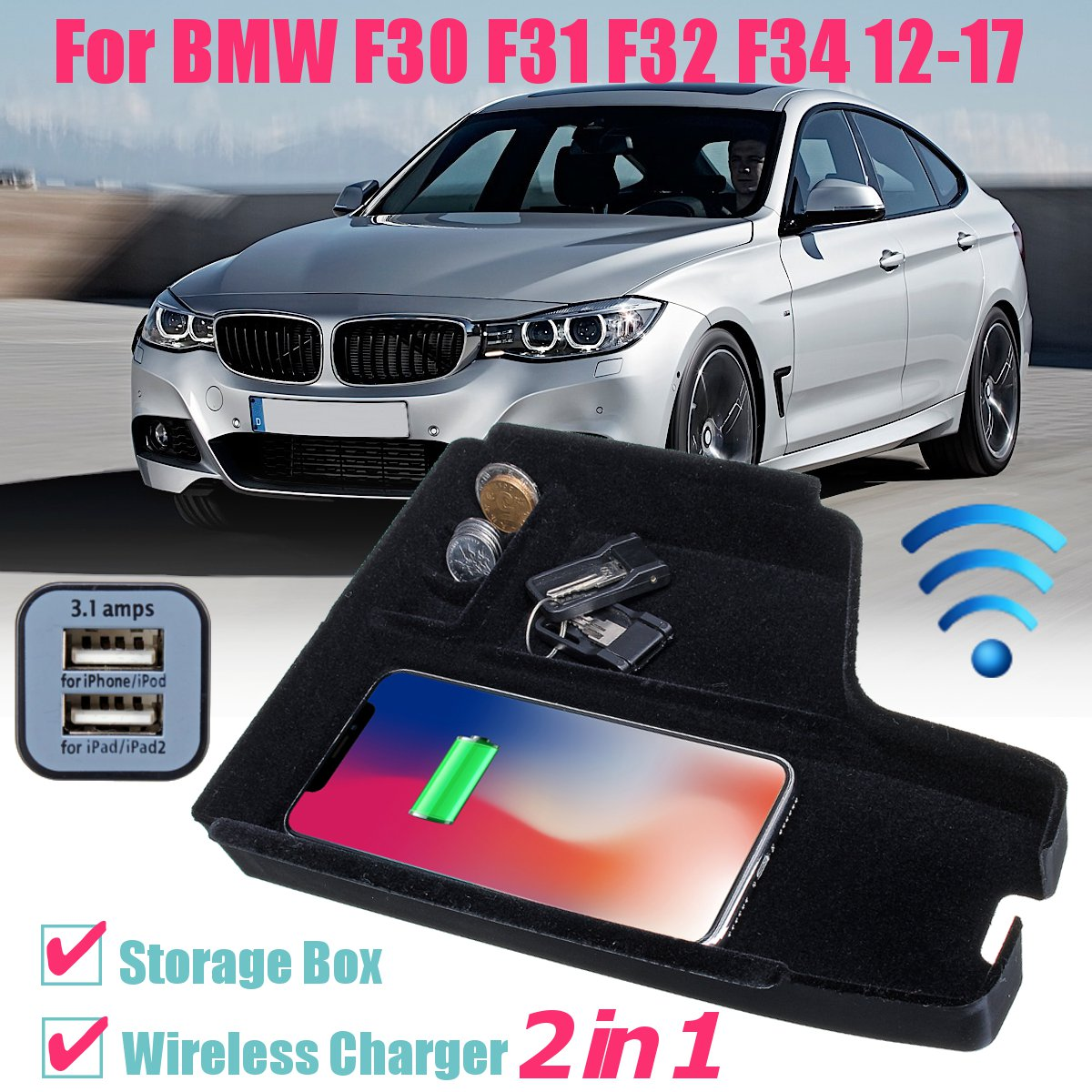 Phone Wireless Charging Car Central Armrest Console Storage Box for BMW F30  F31 F32 F34 LHD 12-17
