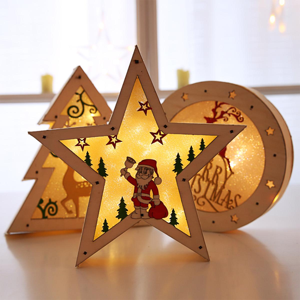 Светодиодный Новогодние украшения Деревянные настольные украшения