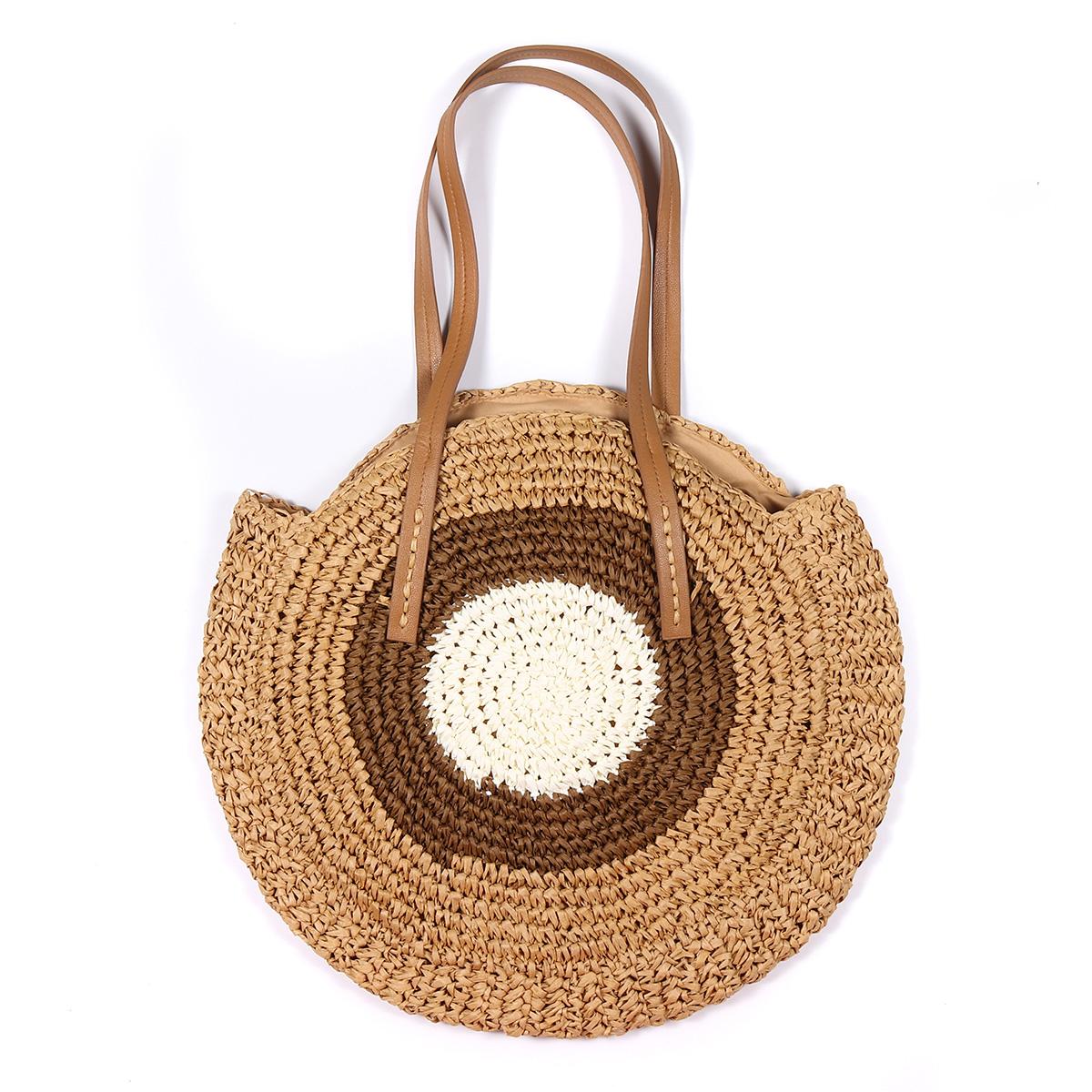Women Beach Round Straw Bag Bucket Rattan Woven Handbag Shoulder Bag Outdoor Travel