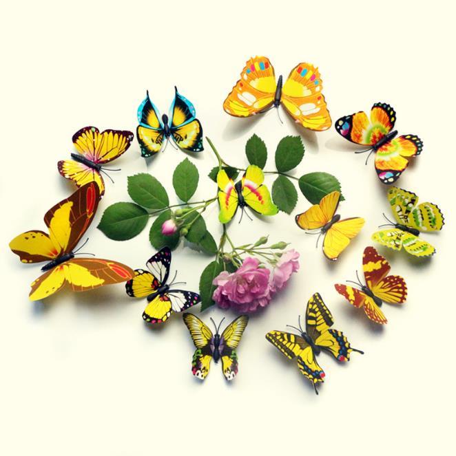 12Pcs 3D Красочные бабочки стены стикер холодильник Магнит Главная декор Art Applique