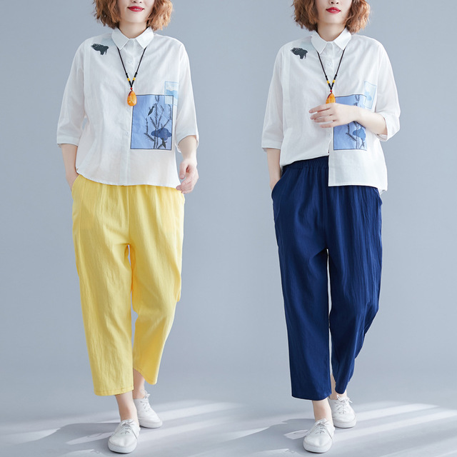 Cotton And Linen Suit Female New Literary Temperament Five-point Sleeve Printing Shirt + Nine Points Harem Pants Casual Two-piece