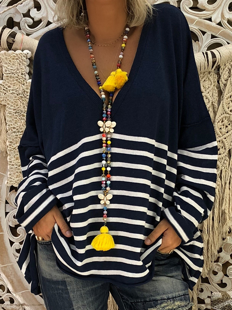 Plus Размер Женское V-образным вырезом с длинным рукавом полосатая кофта Рубашка