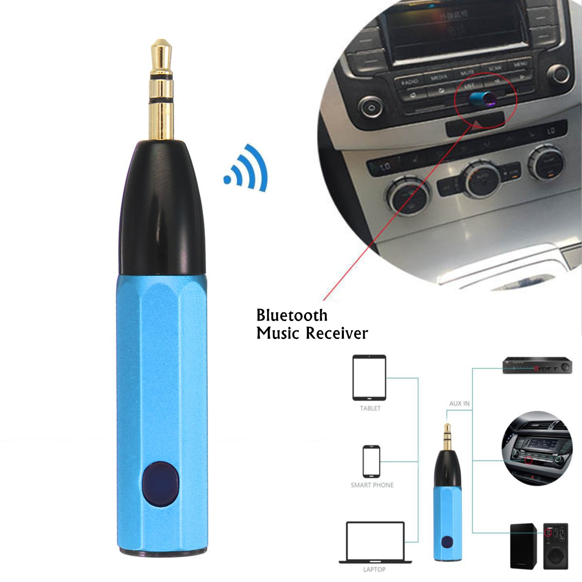 Color: Blue 3.5mm Wireless 4.1 Car USB AUX Bluetooth Stereo Audio Music Receiver Adapter Mic Car Electronics & Accessories